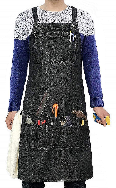 Heavy Duty Denim Jean Shop Work Apron Woodworking Aprons - 10 Tool Pockets | Towel Loop | Cross-back, Adjustable Unisex Utility Bib Apron Fits Men Women, M-XXL by Duo Bao Yu (Image #1)