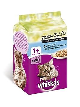 Whiskas Bolsitas para Gatos Platitos Del Día, Pescado en Salsa - 300 gr: Amazon.es: Amazon Pantry