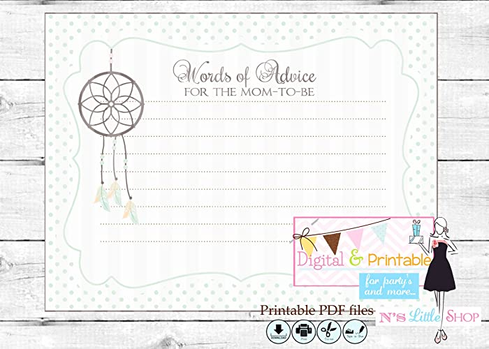picture about Mommy Advice Cards Printable named : Dreamcatcher Kid Shower white Tips card for