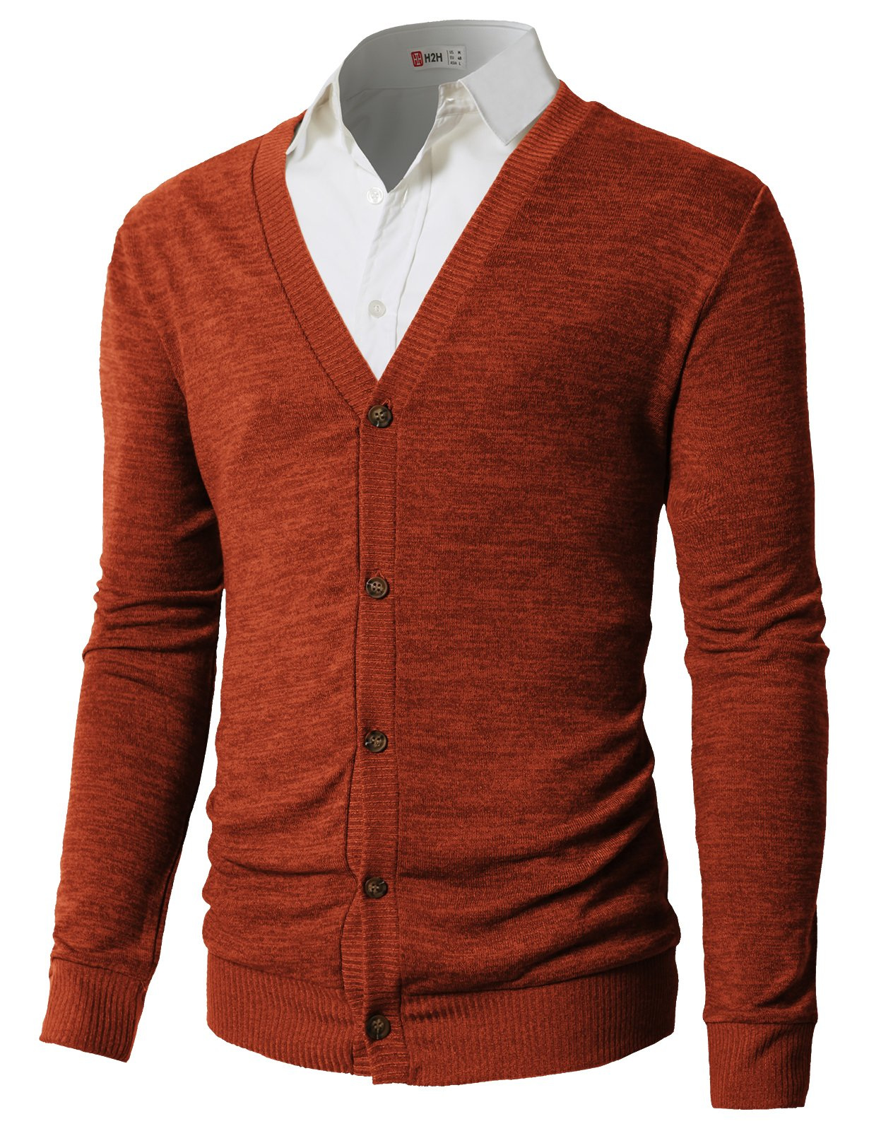 H2H Men's Chic Stylish Fine Knit Casual Knitted Cardigan Sweater Orange US 2XL/Asia 3XL (CMOCAL023)