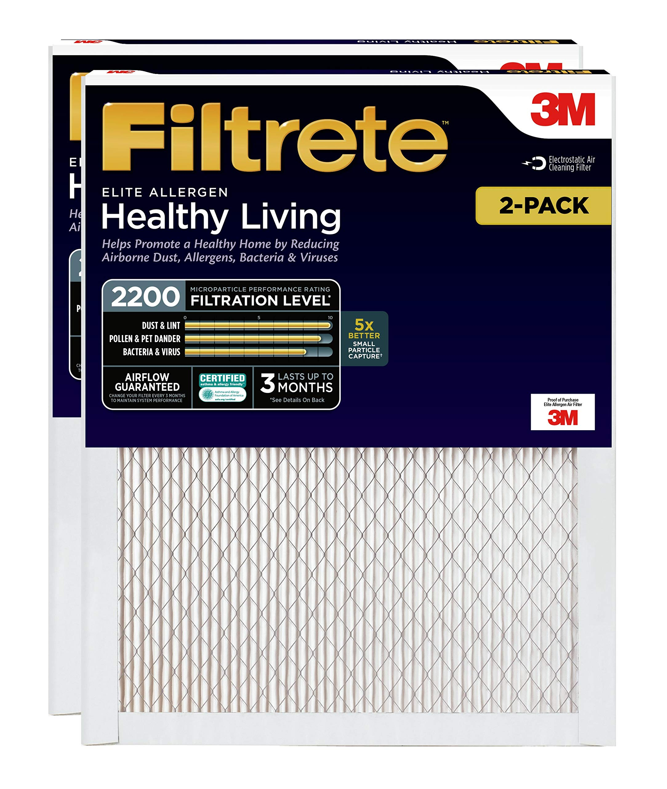 Filtrete 20x30x1, AC Furnace Air Filter, MPR 2200, Healthy Living Elite Allergen, 2-Pack