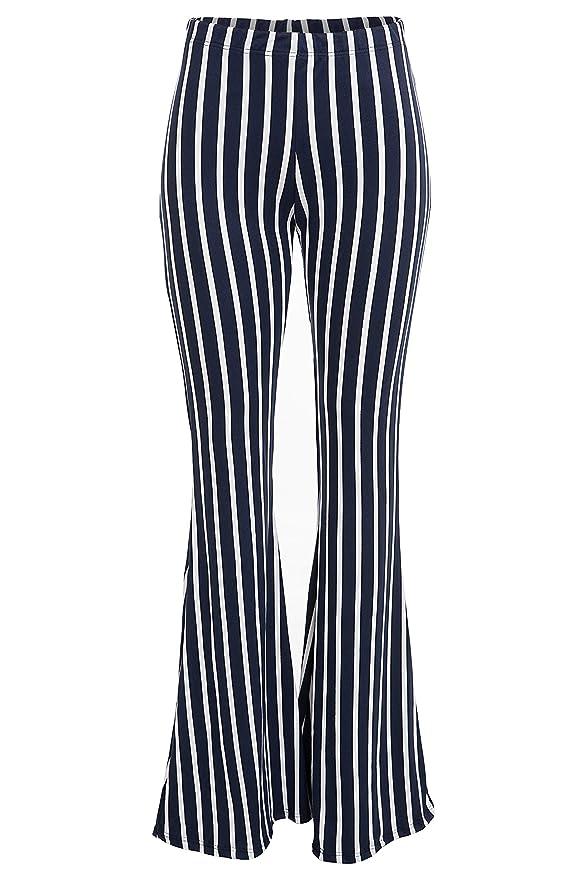 Sailor Dresses, Nautical Theme Dress, WW2 Dresses FASHIONOMICS Womens Boho Printed Bell Bottom Stretchy Long Pants $19.99 AT vintagedancer.com