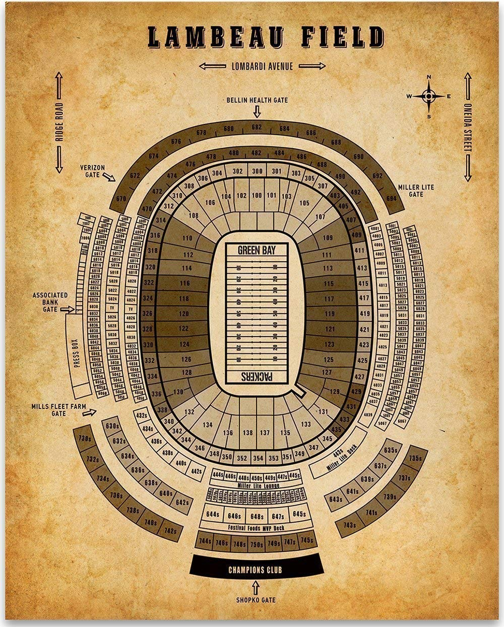 Lambeau Field of Green Bay Football Seating Chart - 11x14 Unframed Art Print - Great Sports Bar Decor and Gift Under $15 for Football Fans