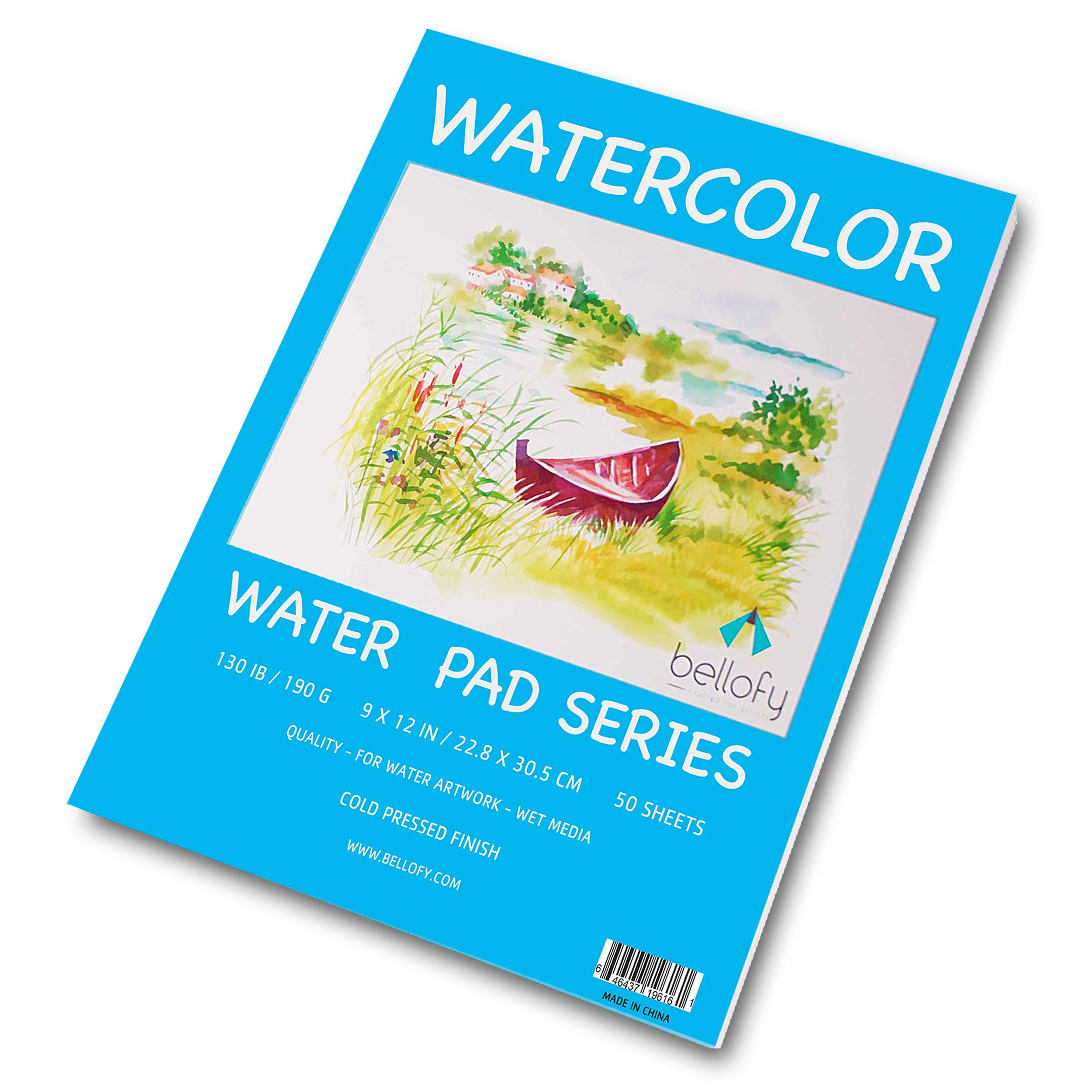 Bellofy 50 Sheet Watercolor Paper Pad - 130 IB / 190 GSM Weight - 9x12 in Size - Cold Press Paper - Water Painting Art Notebook Pad - Watercolor Sketchbook - Painting Paper - Watercolor Journal by Bellofy