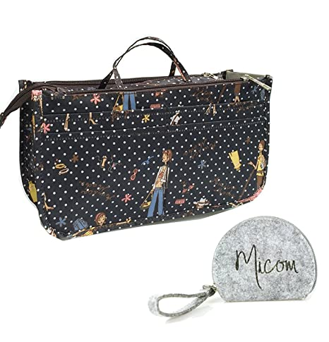 c72966af2485 Micom Cute Printing Expandable 13 Pocket Handbag Insert Purse Cosmetic Bag  Organizer with Handles for Women (Girl)