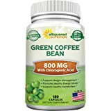 Natural Green Coffee Bean Formula - 180 Capsules - Max Strength GCA Antioxidant Cleanse for Pure Weight Loss, 800mg per Pill
