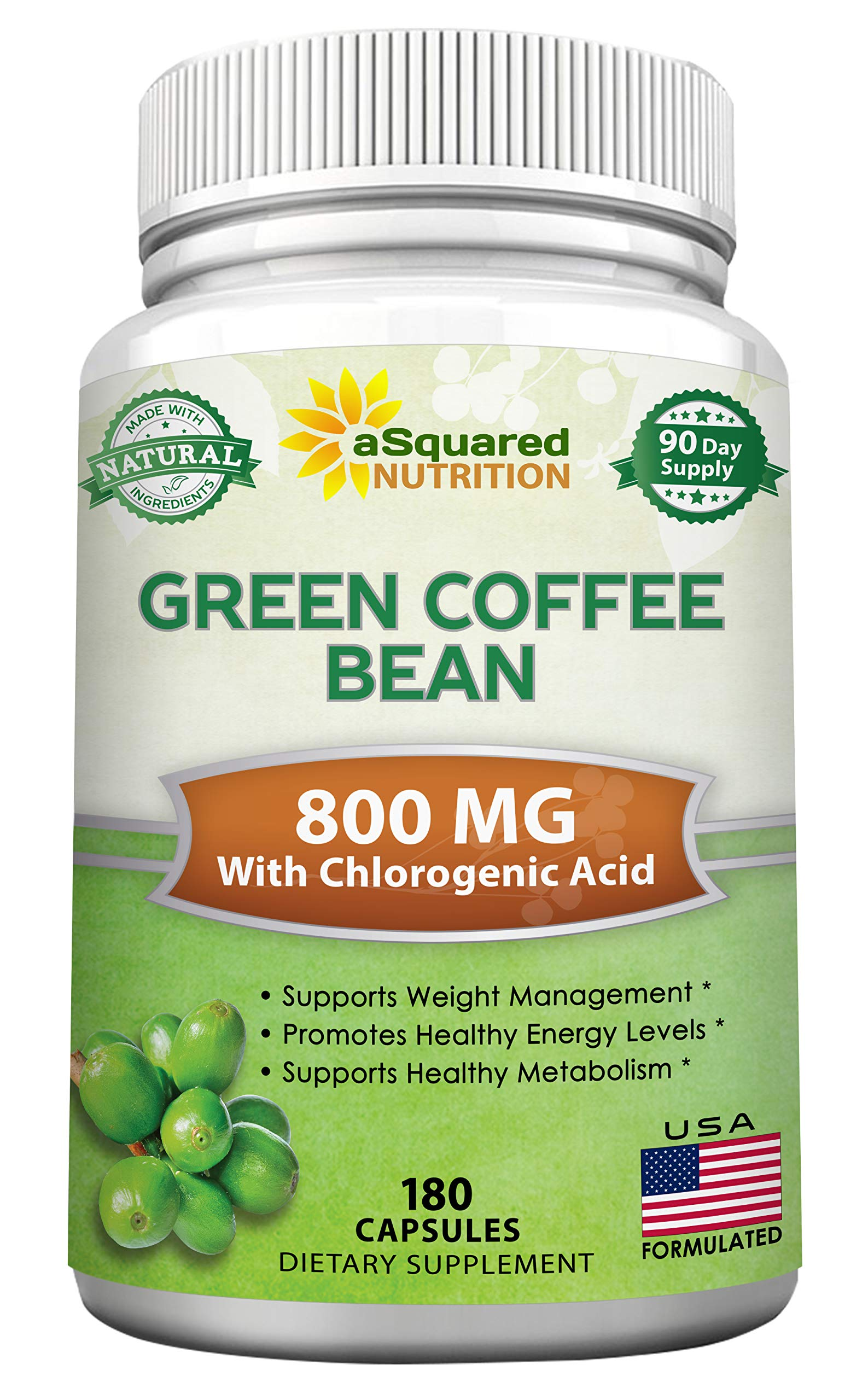 Natural Green Coffee Bean Formula - 180 Capsules - Max Strength GCA Antioxidant Cleanse for Pure Weight Loss, 800mg per Pill - with Chlorogenic Acid - 1600mg Daily Supplement, Healthy Fat Burner