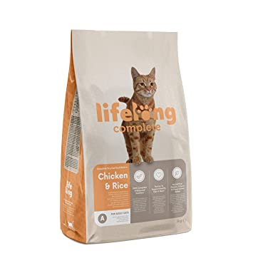 Marca Amazon - Lifelong Complete- Alimento seco completo para gatos adultos rico en pollo y arroz, 3 x 3 kg: Amazon.es: Productos para mascotas