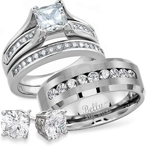 Bellux Style Wedding Rings Set For Him And Her Stainless Steel Cz