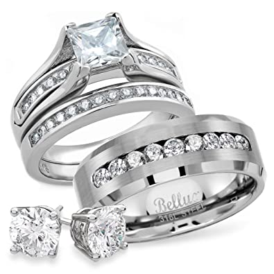 His And Hers Stainless Steel Princess Wedding Ring Set Beveled