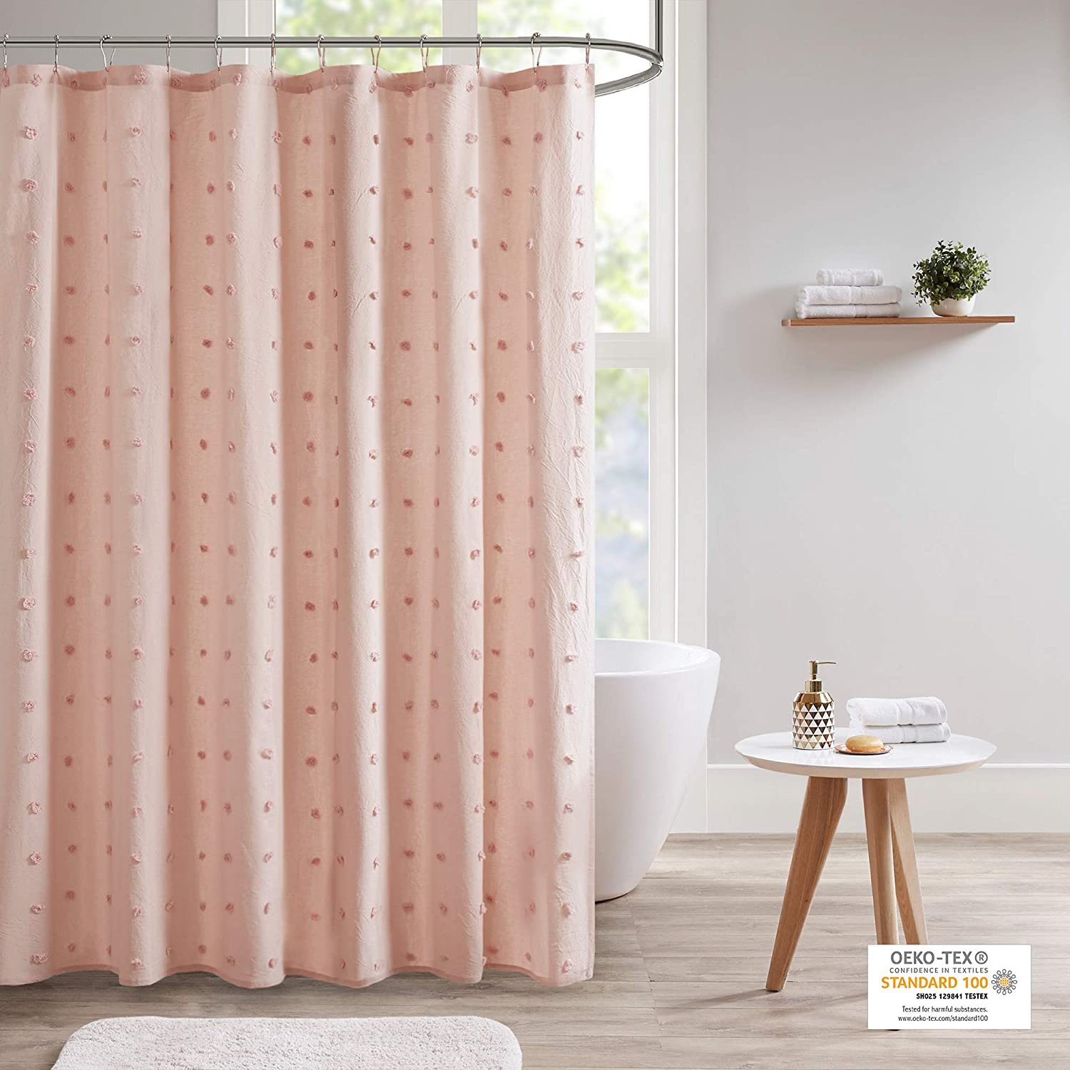 "Urban Habitat Brooklyn Cotton Fabric Shower Curtain Jacquard Pom Machine Washable Shabby Chic Modern Home Bathroom Décor Bathtub Privacy Screen, 70"" x 72"", Pink"