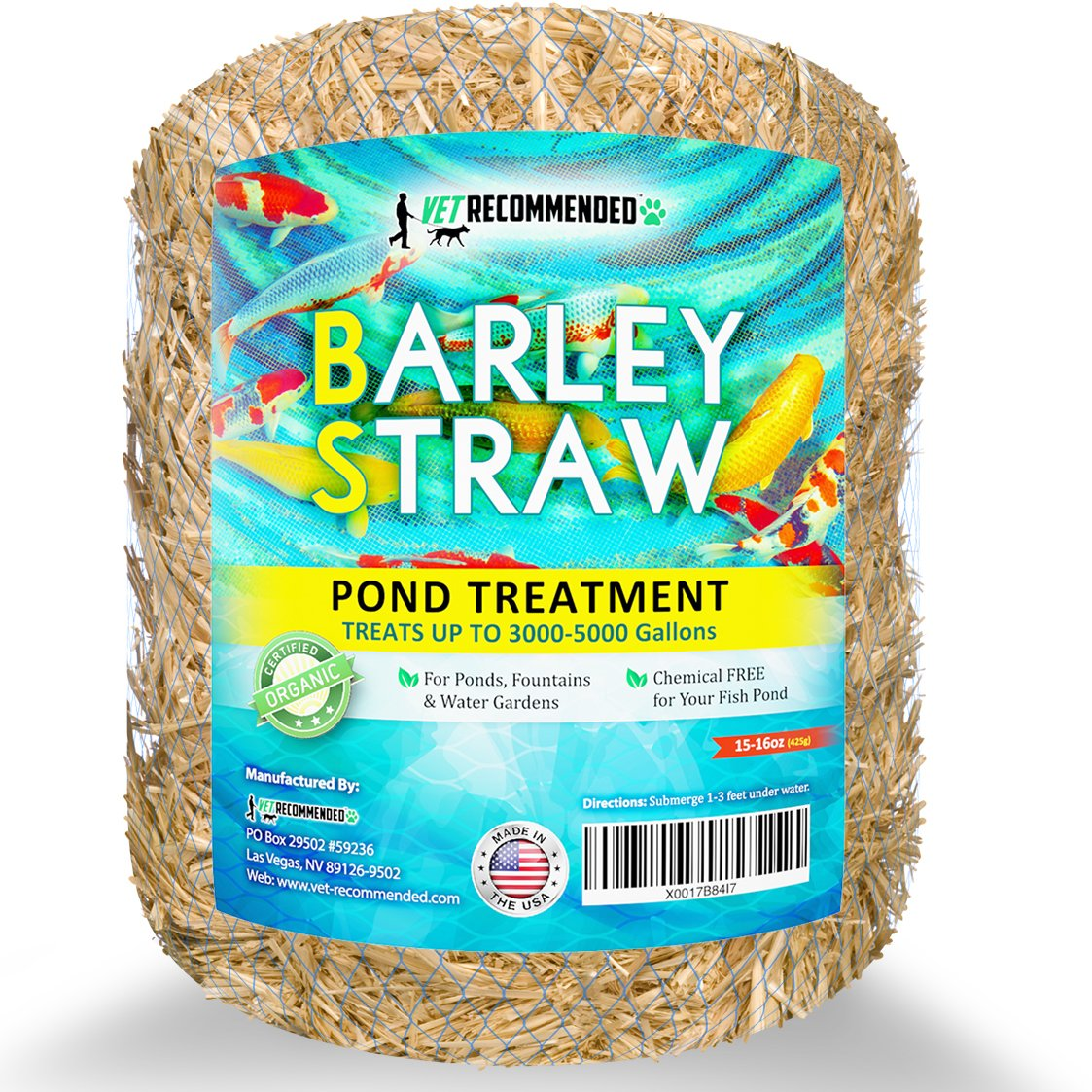 Vet Recommended Barley Straw for Fish Ponds - Certified Organic - Safe & Natural Pond Cleaner Made in USA (16oz)