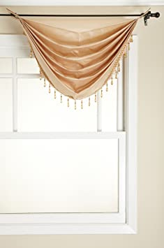 Onyx Stylemaster Tribeca Faux Silk Grommet Waterfall Valance with Beaded Trim 36 by 37-Inch Stylemaster Home Products