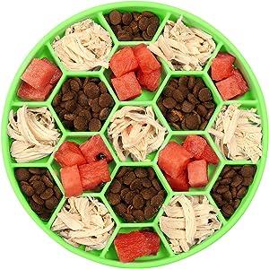 SHOUCAN Silicone Dog Food Bowl,Eco-Friendly Anti Gulping Strong Suction Anti-Slip Pet Slow Feeder,Pet Fun Interactive Feeder,Green,L