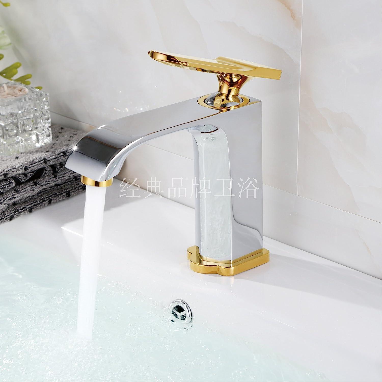 Hlluya Wasserhahn für Waschbecken Küche Die Kupfer Schwarz Matte Oberfläche der Wanne Waschbecken Waschtisch Armatur mit Höhen und niedrigen heiss & kalt Wasserhähne niedrig Chrom und Gold