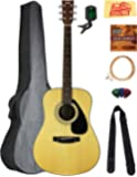 Yamaha F325D Dreadnought Acoustic Guitar Bundle with Gig Bag, Tuner, Strings, Strap, Picks, Austin Bazaar Instructional…