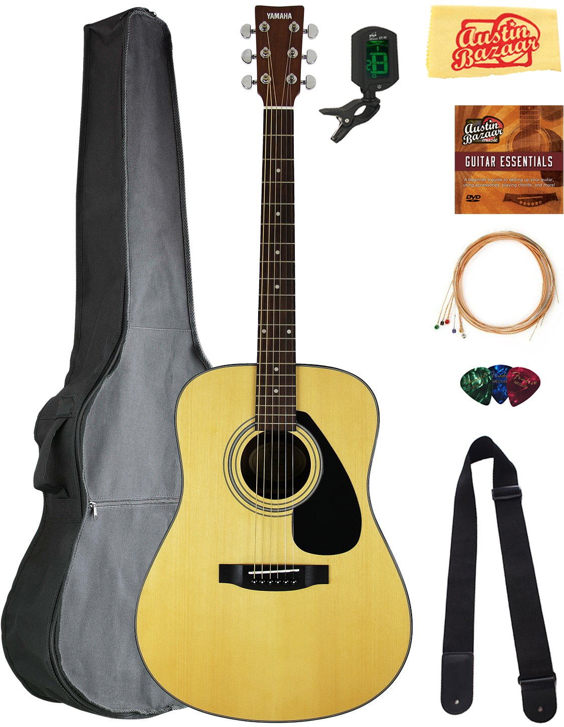 Yamaha F325D Dreadnought Acoustic Guitar Bundle with Gig Bag, Tuner, Strings, Strap, Picks, Austin Bazaar Instructional DVD, and Polishing Cloth by Yamaha