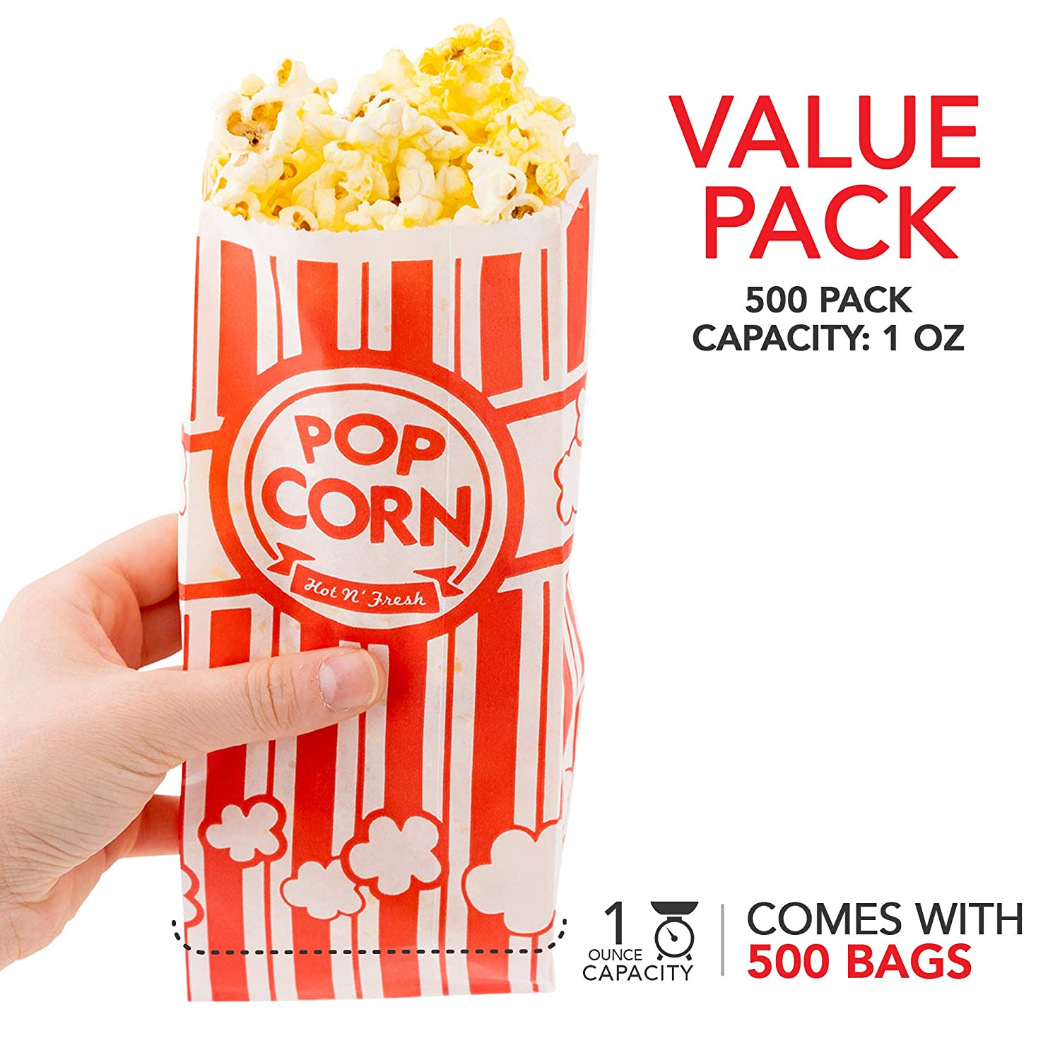 Red /& White Dispsoable Carnival Popcorn Bags 1 Oz Popcorn Bag 500 Count