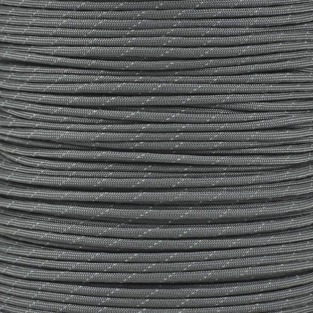 Reflective Type III 550 Paracord - Charcoal Gray - 10 Ft Hank - 7 Strand Core - 100% Nylon, Parachute Cord, Commercial Paracord, Survival Cord