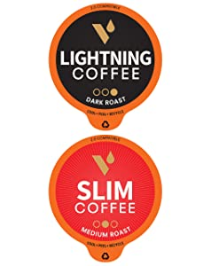 VitaCup Coffee Pod Lightning & Slim 32ct. Bundle Vitamin infused Recyclable Single Serve Pods Compatible with K-Cup Brewers Including Keurig 2.0