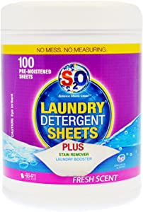 S2O Laundry Detergent Sheets Plus Stain Remover Booster - 100 Count - Fresh Scent