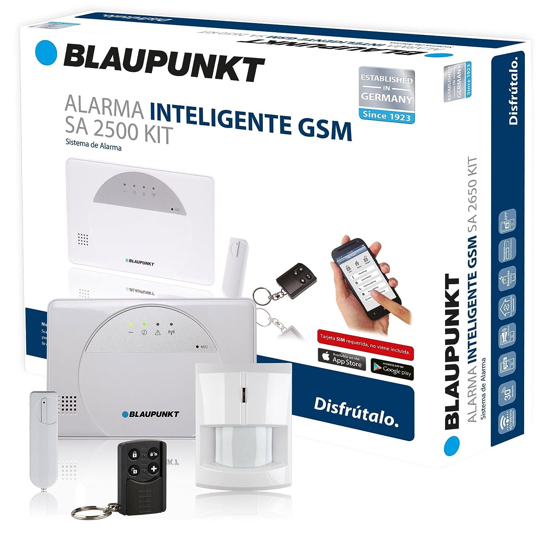 Kit de Alarma inteligente Blaupunkt SA 2500. SIN Cuotas Mensuales, transmisión vía GSM, 100% inalámbrica, fácil de instalar, para tu hogar o negocio. Controla tu alarma desde tu Smartphone con la App Gratuita