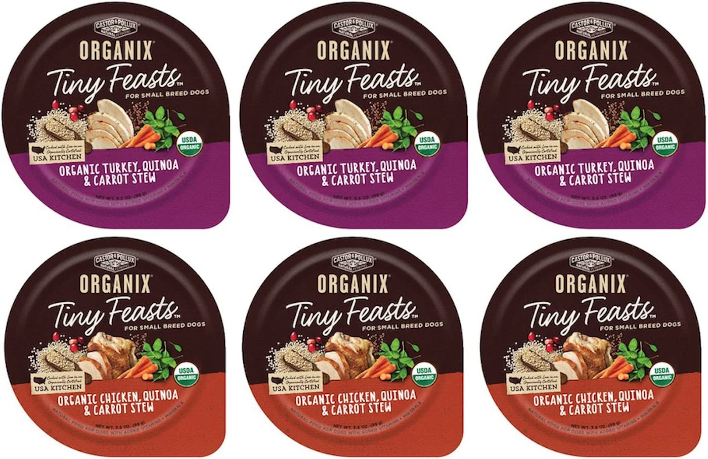 Organix Tiny Feasts Wet Dog Food with Quinoa 2 Flavor Variety Bundle: (3) Organic Chicken, Quinoa & Carrot Stew, (3) Organic Turkey, Quinoa & Carrot Stew, 3.5Oz Each (6 Trays Total)