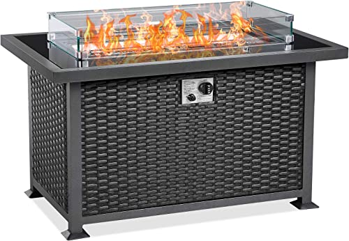 U-MAX 44 Inch Outdoor Auto-Ignition Propane Gas Fire Pit Table