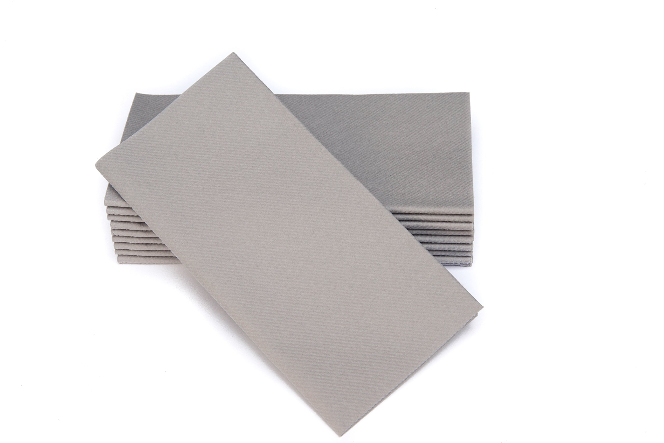 """Simulinen Dinner Napkins – Disposable, Gray, Cloth-Like – Elegant, Yet Heavy Duty Soft, Absorbent & Durable – 16""""x16"""" – Box of 50"""