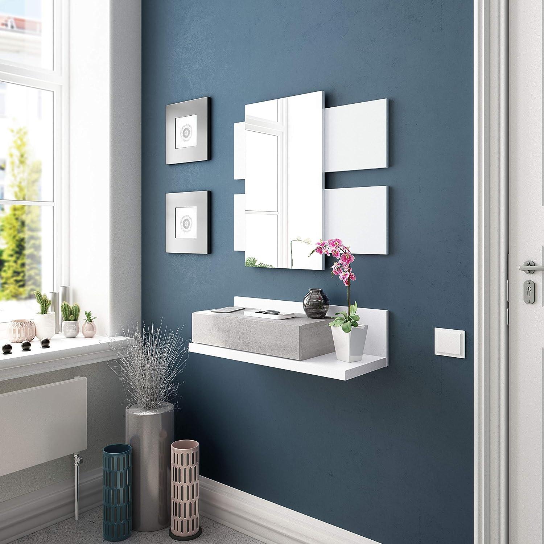 Habitdesign Recibidor con cajón y Espejo, Blanco Artik y Gris Cemento, 75 x 116 x 29 cm