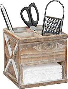 Barnyard Designs Rustic Wood Utensil Caddy with Napkin Holder - 4 Compartment Flatware, Silverware or Utensil Crock with Napkin Slot, Farmhouse Kitchen Decor, 7.75