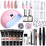 Modelones Poly Extension Gel Nail Kit - 6 Colors with 48W Nail Light Nail Lamp Slip Solution Rhinestones Glitter All In One K