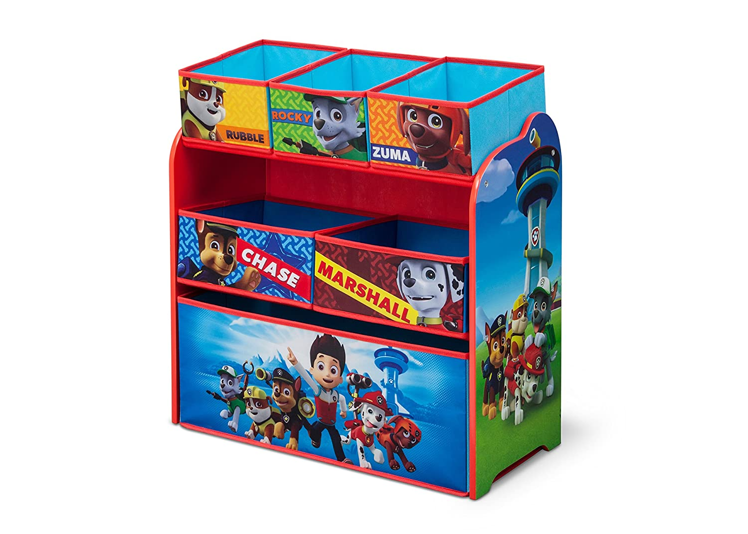 Paw Patrol Toy Organizer Bin Cubby Kids Child Storage Box: Organizer Playroom Chest Toy Box Multi Bin Storage PAW