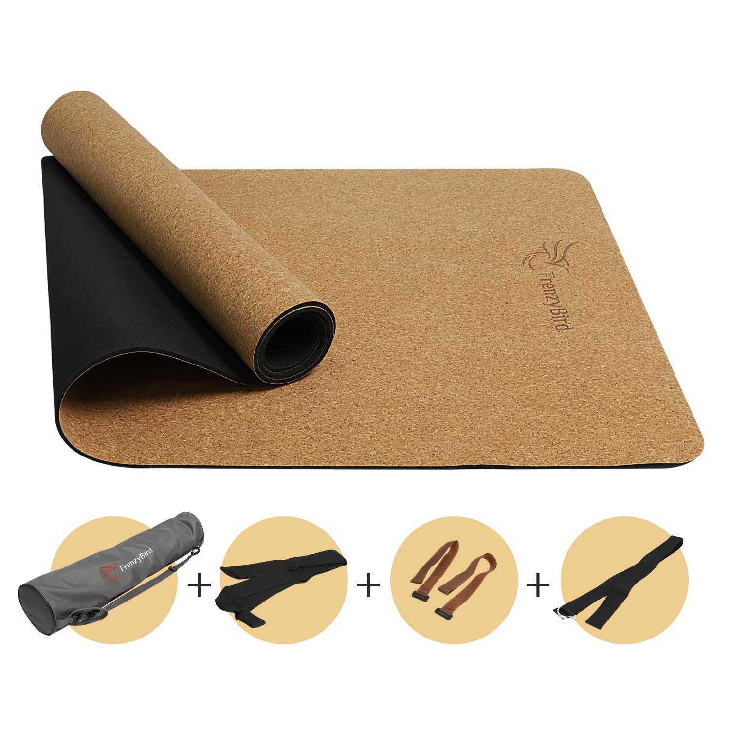 FrenzyBird 5mm Natural Cork Yoga Mat With OXFORD Mat Bag and Strap, Non-Slip, Double-Sided,Antimicrobial,Free of PVC and Other Harmful Chemicals, For Yoga,Hot Yoga and Pilates