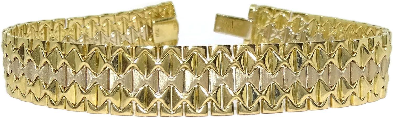 Never Say Never Pulsera de Oro Amarillo y Oro Blanco Mate y Brillo de 18k Tipo Malla Italiana Semi-rígida de 1.20cm de Ancha y 18.50cm de Larga. Peso; 25.90gr de Oro de 18k