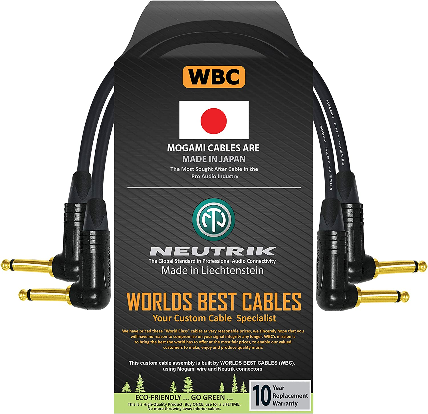 Guitar Bass Effects Instrument Patch Cable with Neutrik Gold NP2RX-B 1//4 Inch Right Angled TS Connectors 2 Units Mogami 2524-18 Inch
