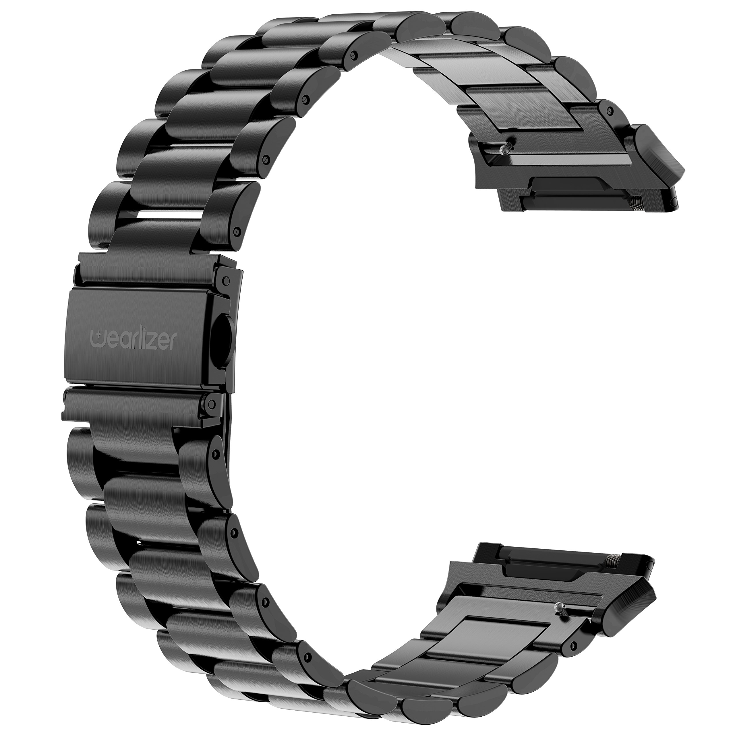 For Fitbit Ionic Bands, Wearlizer Metal Links Band Replacement for Ionic, Lux Accessories Stainless Steel Bracelet Strap with Folding Clasp for Fitbit Ionic Smartwatch - Black