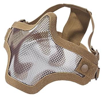 Máscara táctica protectora para airsoft (media cara, rejilla, metal), color tostado