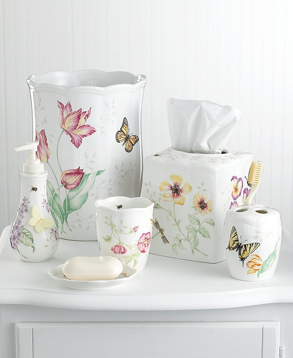 Amazon.com: Lenox Butterfly Meadow Waste Basket: Waste Bins: Kitchen U0026  Dining