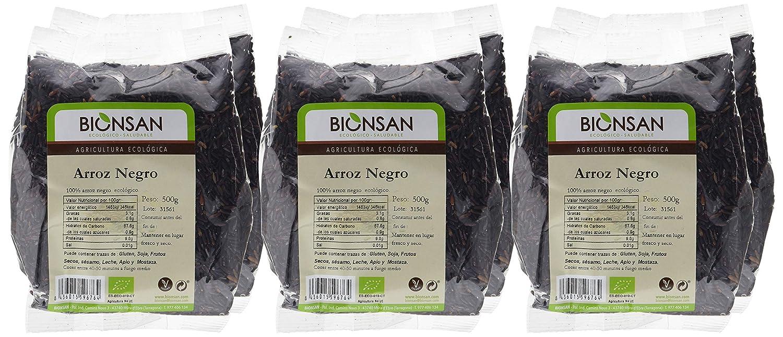 Bionsan Arroz Negro de Cultivo Ecológico | 6 Paquetes de 500 g | Total: 3 kg