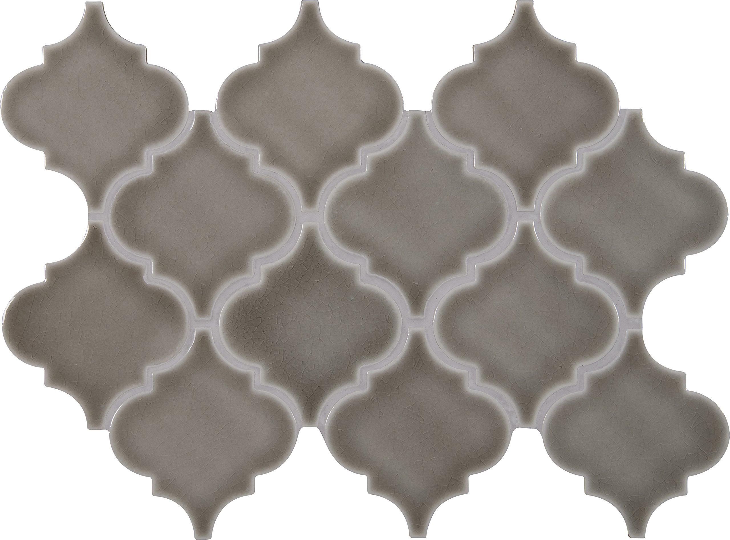 M S International Dove Gray Arabesque 10.83 in. x 15.5 in. x 8 mm Glazed Ceramic Mesh-Mounted Mosaic Wall Tile (11.7 sq.ft./case) by MS International
