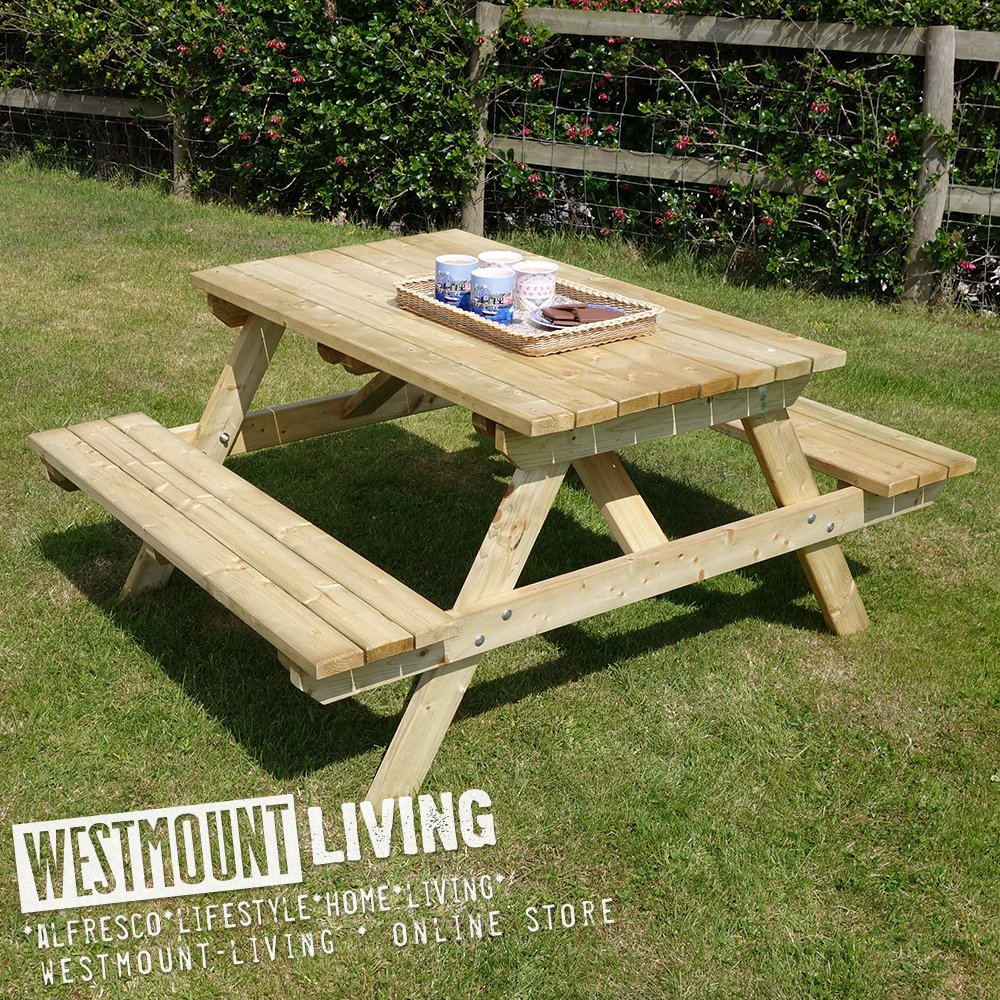 Wooden Garden Picnic Table Bench Pub Style Outdoor Furniture 5ft By Westmount Living