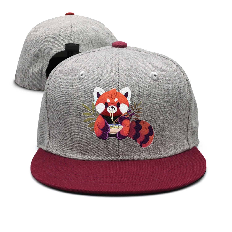 Arsmt Red Panda Eating Ramen Denim Hat Adjustable Men's Vintage Baseball Caps