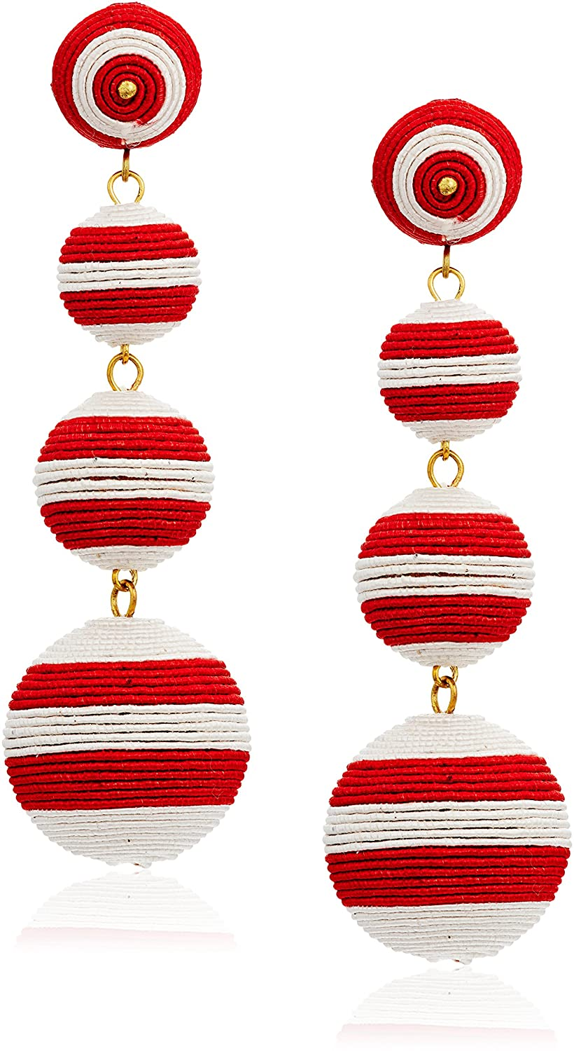 Kenneth Jay Lane Red White Stripe Thread Matte Drop Earrings 7078ERWP
