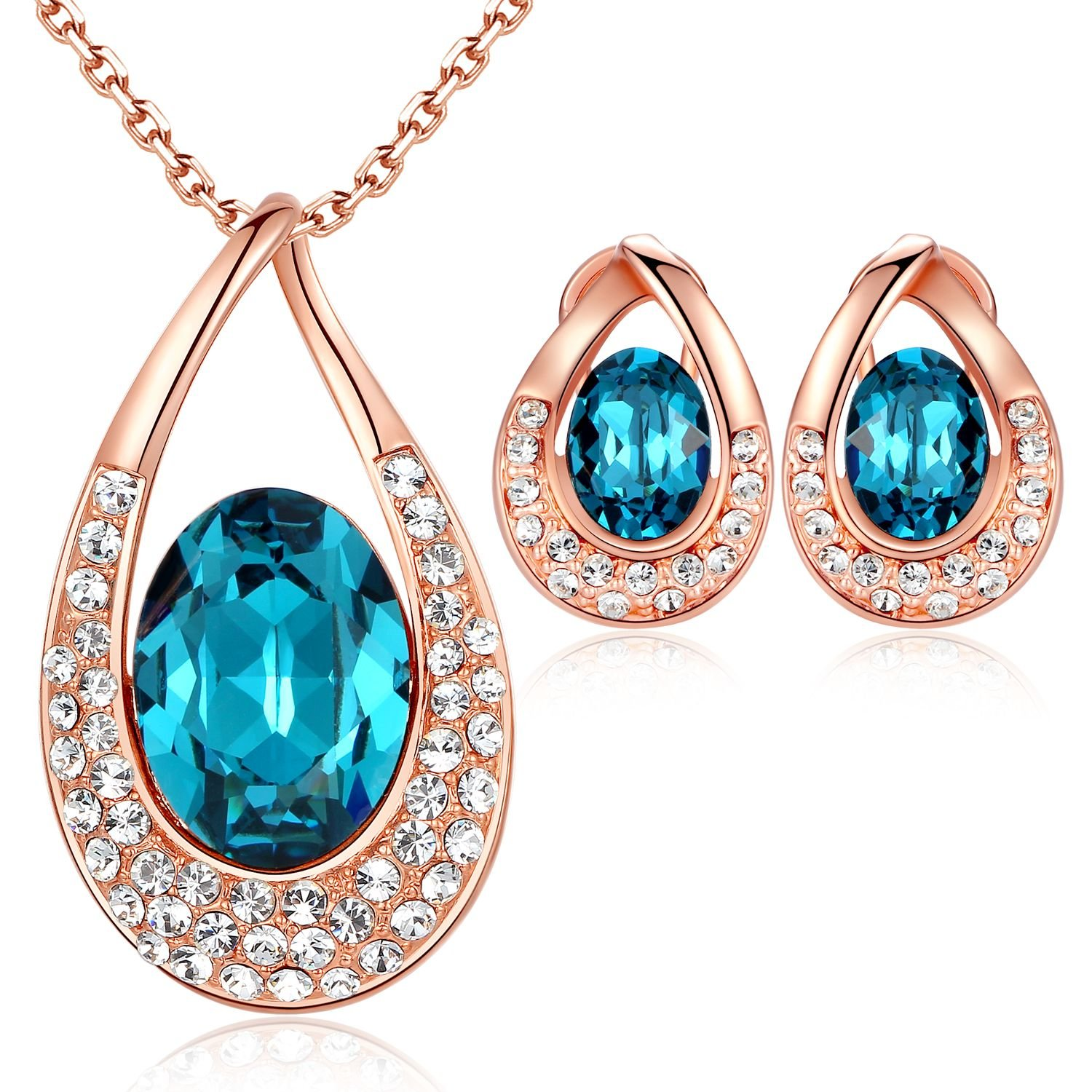 Leafael [Presented by Miss New York] Angel's Teardrop Made with Swarovski Crystals Blue Zircon Jewelry Set Earrings Necklace, 18''+ 2'', 18K Rose Gold Plated, Nickel/Lead/Allergy Box by Leafael