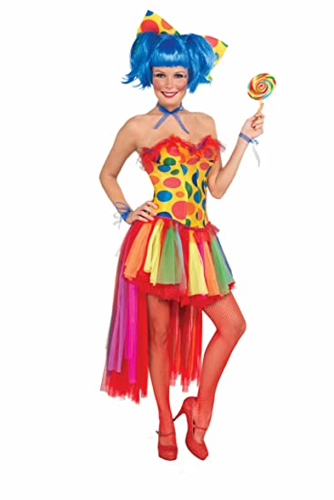 0634c41d76 Amazon.com  Forum Rainbow Polka Dot Clown Corset Style Costume Top ...