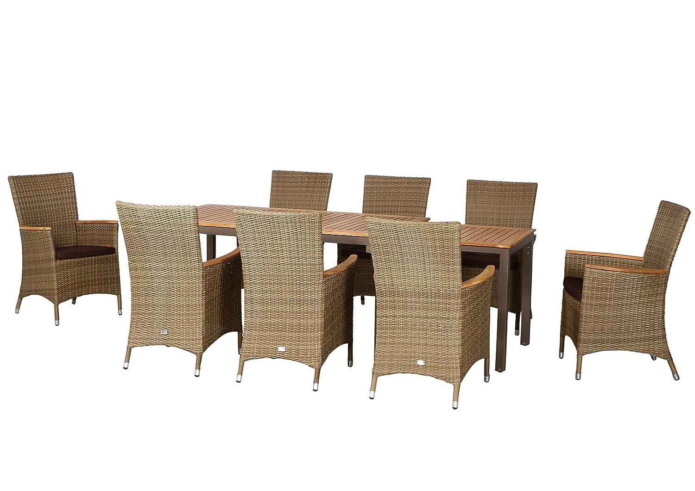 17-teilige Luxus Aluminium Teak Polyrattan Geflecht Gartenmöbelgruppe Fresno , 8 Diningsessel, 8 Auflage und ein Ausziehtisch Geneva 160/260x90, braun - sand