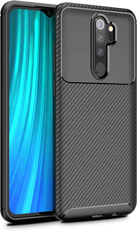 Xiaomi Redmi Note 8 Pro Case, Silicone Leather[Slim Thin] Flexible TPU Protective Case Shock Absorption Carbon Fiber Cover for Xiaomi Redmi Note 8 Pro Case (Black)