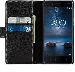 StilGut Housse pour Nokia 8 Porte-Cartes Talis en Cuir véritable à Ouverture latérale et Languette magnétique, Noir