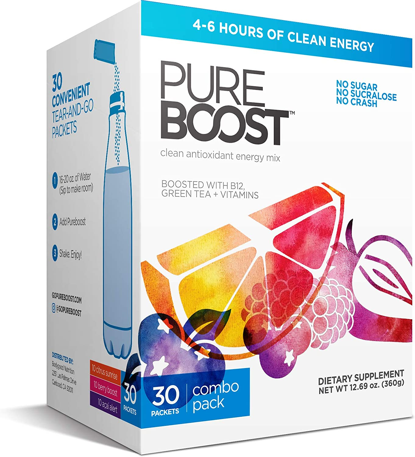 Pureboost Clean Energy Drink Mix + Immune System Support. Sugar-Free Energy with B12, Multivitamins, Antioxidants, Electrolytes (Combo Pack, 30 Stick Packs): Health & Personal Care